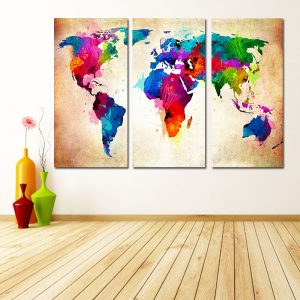 colorful world map on canvas wall art